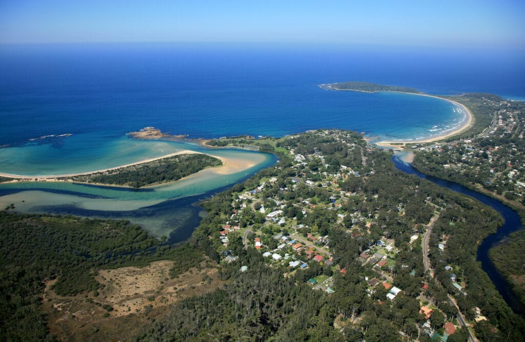 Aerial view of Mossy Point and Broulee