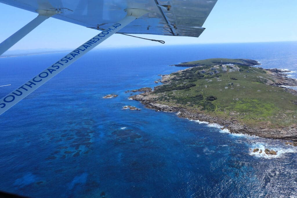View over Montague Island from a seaplane