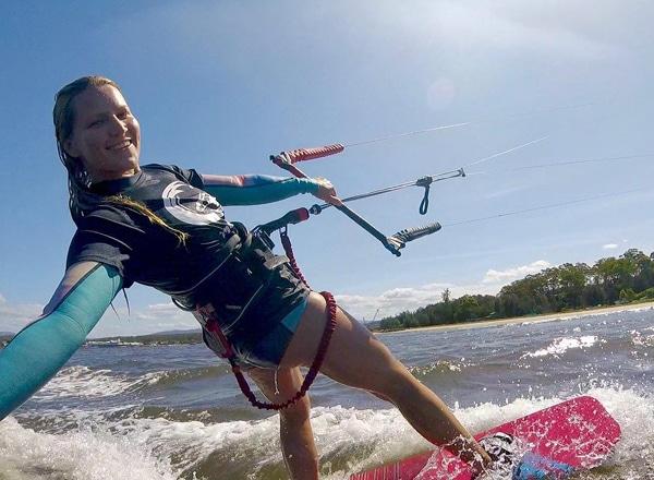 Girl kitesurfing in Batemans Bay