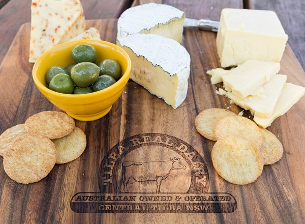 Tilba Real Dairy cheese board